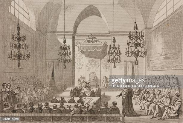 A sitting of the House of Lords London England United Kingdom engraving by Lemaitre from Angleterre Ecosse et Irlande Volume IV by Leon Galibert and...