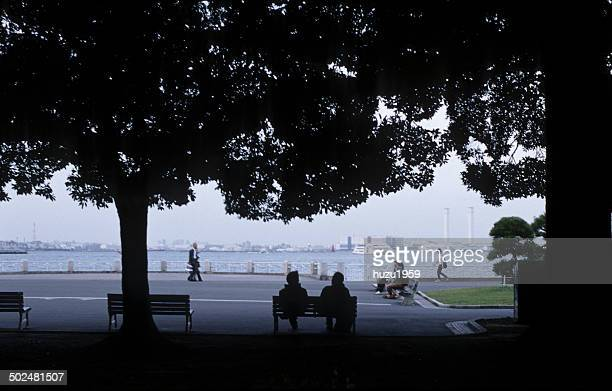 Sitting on a bench in the harbor