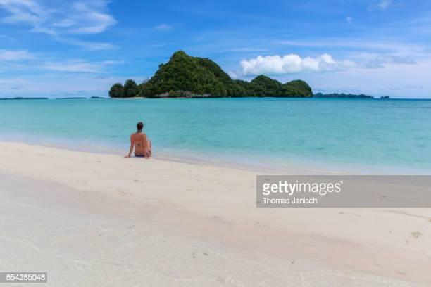 Sitting on Long Beach, Palau