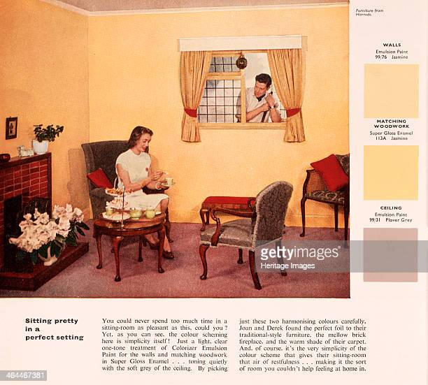 'Sitting pretty in a perfect setting' 1950s A woman sits down to afternoon tea while her husband pokes his head through the window An advertisement...