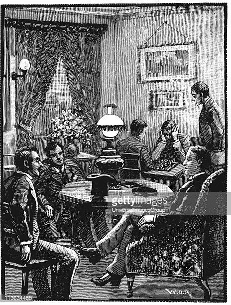 Sitting room at Young Men's Christian Association Exeter Hall London where young men could relax and receive visitors Wood engraving 1887