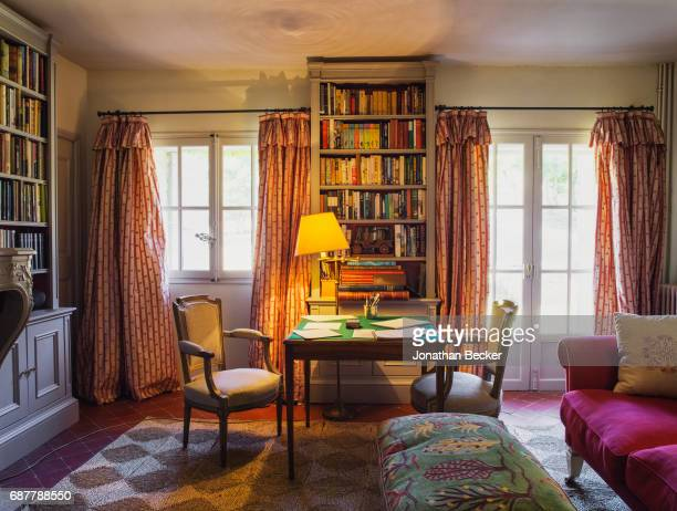 Sitting room in the Chateau dAutet hunting lodge is photographed for Vanity Fair Magazine on July 13, 2016 in Provence, France. PUBLISHED IMAGE.