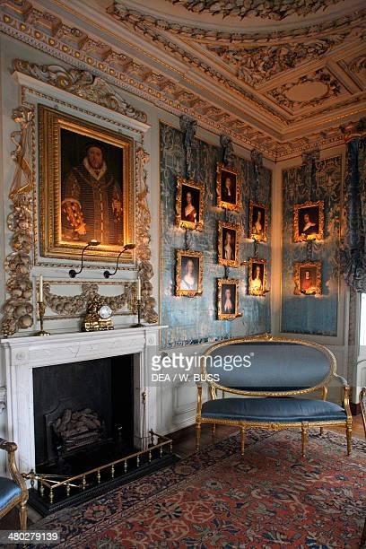 Sitting room in Warwick castle on the Avon river Warwickshire United Kingdom