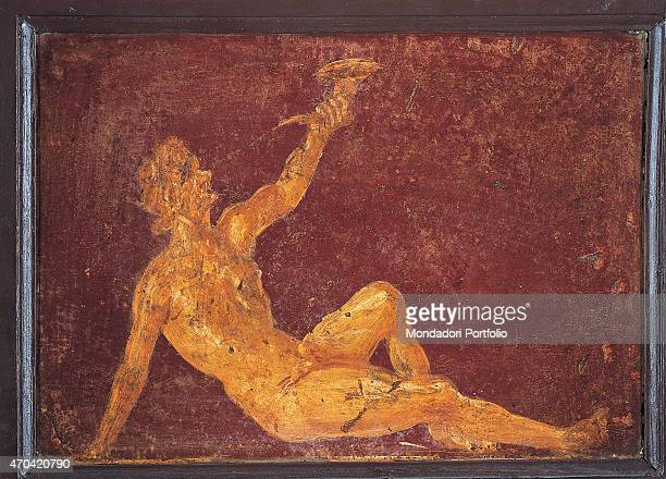 Sitting Satyr by unknown artist 4569 1st Century AD ripped fresco 31 x 45 cm Italy Campania Naples National Archaeological Museum Room LXXVII inv...