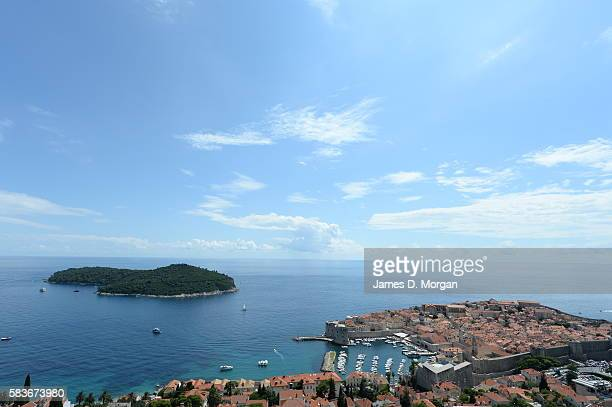 Situated on the Adriatic Sea the tourist city and all its churches and walls on July 29 2014 in Dubrovnik Croatia