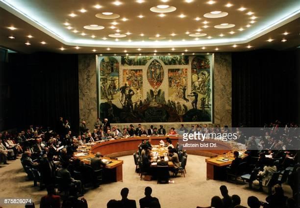 Sitzung des UN Sicherheitsrats während Blick in den Sitzungssaal