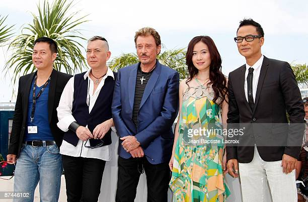 SiuFai Cheung Anthony Wong Johnny Hallyday Michelle Ye Johnnie To and Simon Yam attend the Vengeance Photo Call at the Palais des Festivals during...