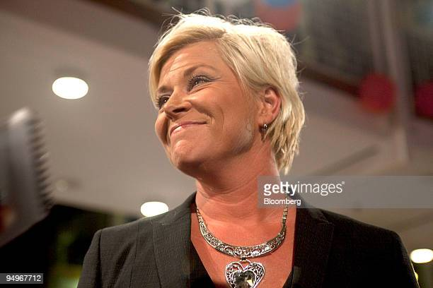 Siv Jensen, leader of Norway's The Progress Party, speaks to the press at her party's headquarters in Oslo, Norway, on Monday, Sept. 14, 2009....
