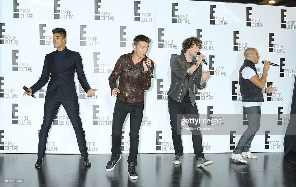 Siva Kaneswaran, Tom Parker, Jay McGuiness and Max George of The Wanted performs during the E! 2013 Upfront at The Grand Ballroom at Manhattan Center on April 22, 2013 in New York City.