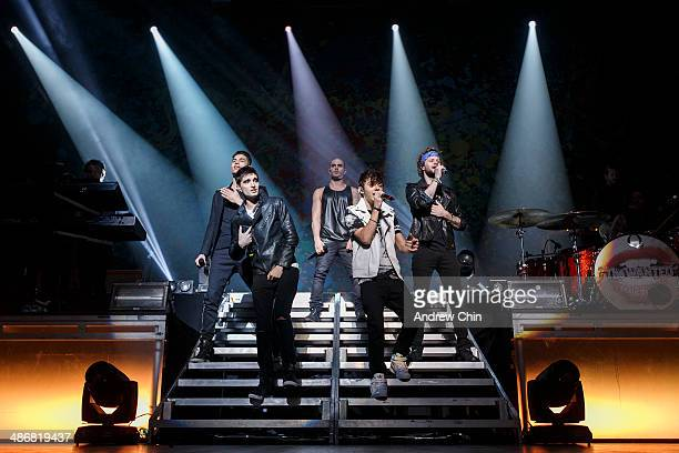 Siva Kaneswaran Tom Parker Max George Nathan Sykes and Jay McGuiness of The Wanted performs at Orpheum Theatre on April 25 2014 in Vancouver Canada