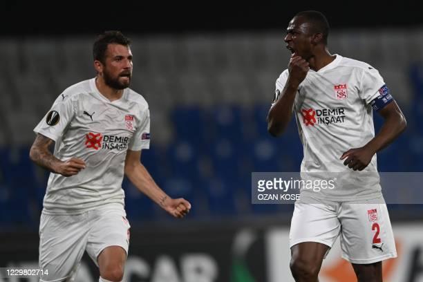 Sivasspor's Ivorian forward Arouna Kone celebrates after scoring a goal during the UEFA Europa League group I football match between Garabagh and...