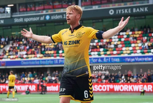 Sivert Heltne Nilsen of AC Horsens shows frustration during the Danish 3F Superliga match between Silkeborg IF and AC Horsens at Jysk Park on July 21...