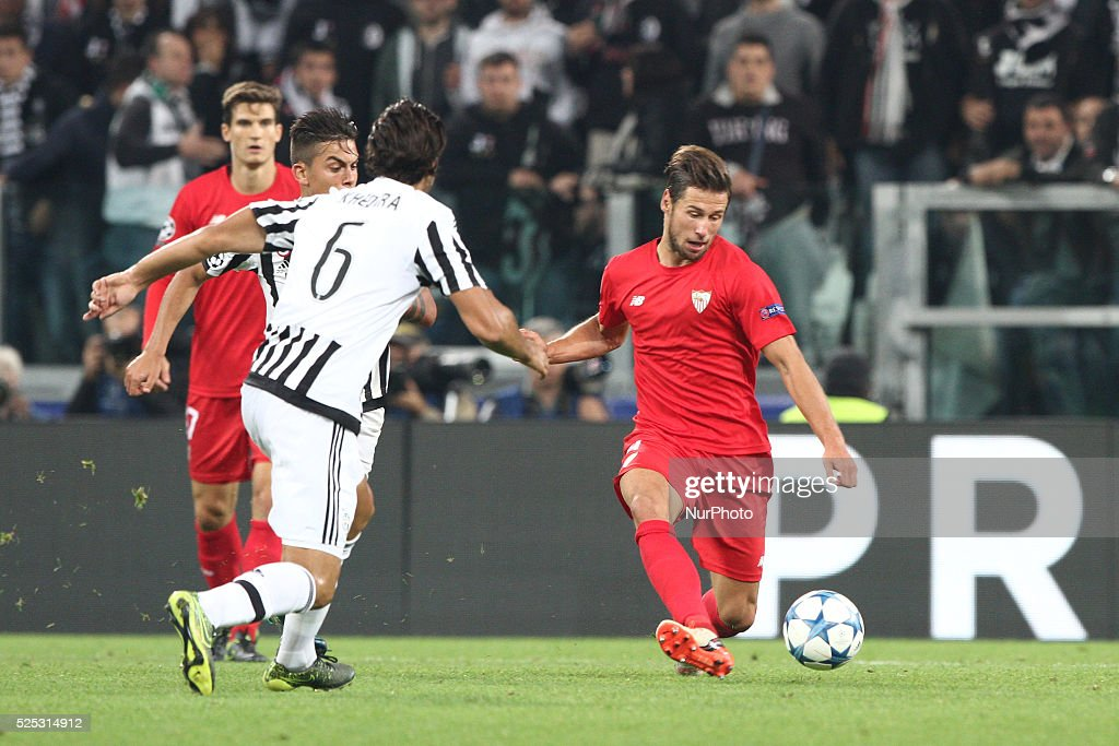 Siviglia midfielder Grzegorz Krychowiak (4) in action during the Uefa Champions League group stage football match n2 JUVENTUS - SEVILLA on 30/09/15 at the Juventus Stadium in Turin, Italy.