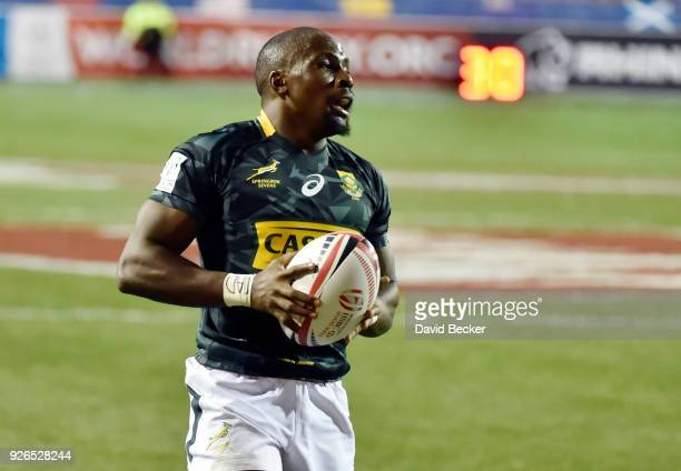 Siviwe Soyizwapi of South Africa carries the ball for a try against Wales during the USA Sevens Rugby tournament at Sam Boyd Stadium on March 2 2018...