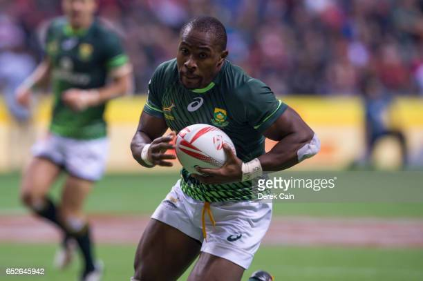 Siviwe Soyizwapi of South Africa scores a try against England in the Cup Final on day 2 of the 2017 Canada Sevens Rugby Tournament on March 12 2017...