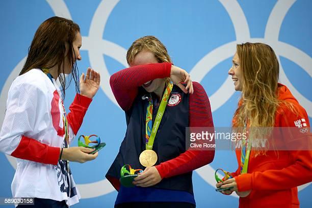 Sivler medalist Jazz Carlin of Great Britain gold medalist Katie Ledecky of United States and bronze medalist Boglarka Kapas of Hungary celebrate on...
