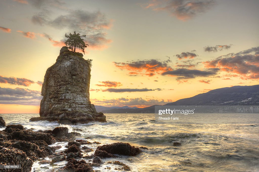 Siwash Rock at Stanley Park : Stock Photo