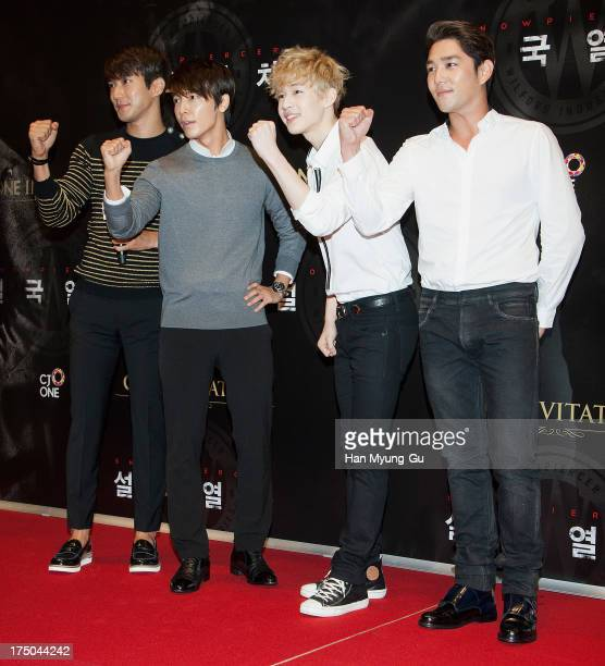 Siwon , Donghae, Henry and Kangin of South Korean boy band Super Junior attend the 'Snowpiercer' South Korea premiere at Times Square on July 29,...