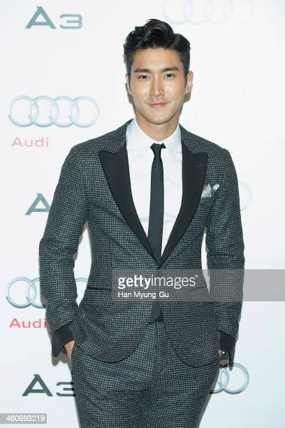 Siwon of South Korean boy band Super Junior attends the launch event for Audi's new A3 sedan on January 6 2014 in Seoul South Korea
