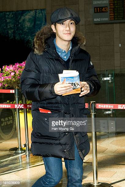 Siwon of South Korean boy band Super Junior is seen at Gimpo International Airport on February 8 2013 in Seoul South Korea