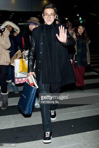 Siwon of South Korean boy band Super Junior is seen at Incheon International Airport on January 10, 2013 in Incheon, South Korea.