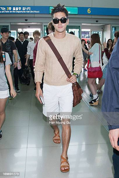 Siwon of South Korean boy band Super Junior M is seen on departure at Incheon International Airport on May 31 2013 in Incheon South Korea