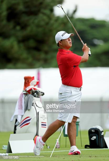 Si-Woo Kim of Team Korea practices at the Kasumigaseki Country Club ahead of the Tokyo Olympic Games on July 24, 2021 in Tokyo, Japan.