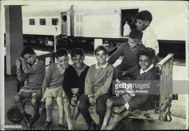Six aboriginal children arrived by rail this morning to Spend a week in Sydney The visit by the children was made possible by the Artarmon...