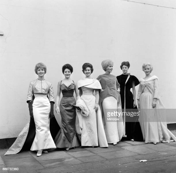 Six actresses line up at Cornwall Gardens Kensington for a fitting and a photo call They are wearing the gowns which have been designed by Alan...