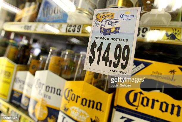 Six and twelve packs of beer are displayed on a shelf at liquor store May 20 2009 in San Rafael California Federal lawmakers are considering an...
