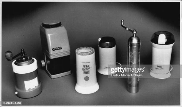 Six assorted coffee grinders pictured in studio August 21 1991