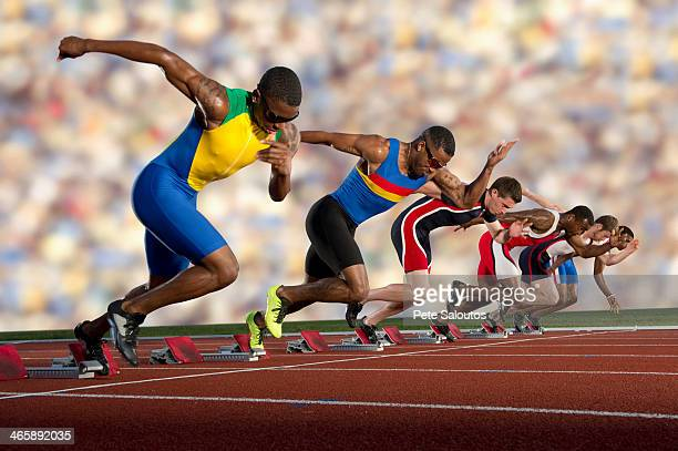 six athletes starting race - athleticism stock pictures, royalty-free photos & images