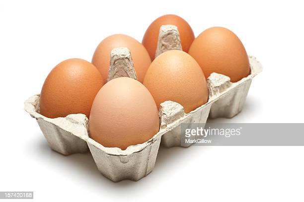 Six brown eggs in a carton isolated on white