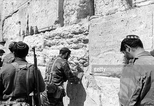 Six Day War Israeli soldiers at the Wailing Wall after the capture of Jerusalem during the Six Day War June 1967