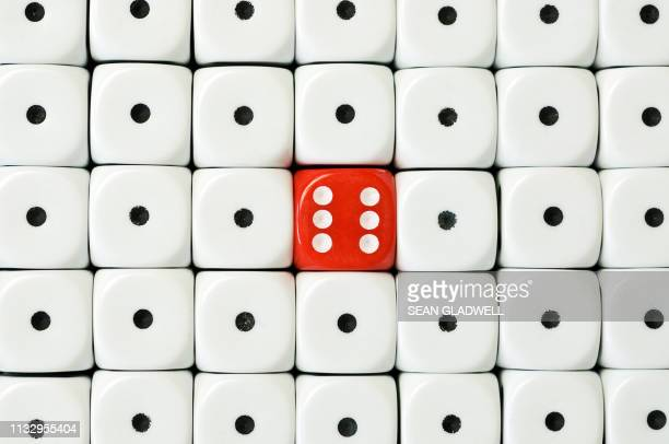 six dice surrounded - number 1 stock pictures, royalty-free photos & images