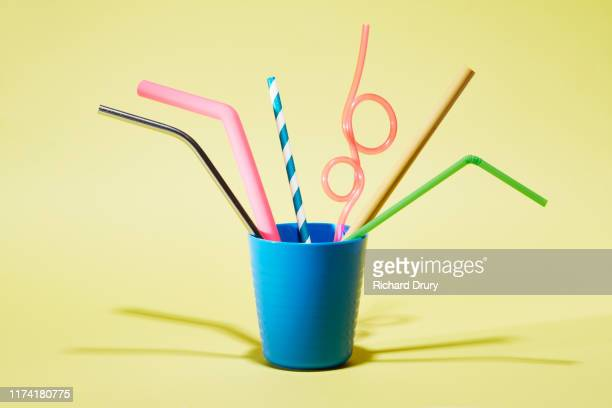 six different drinking straws in a cup - diversity stock pictures, royalty-free photos & images