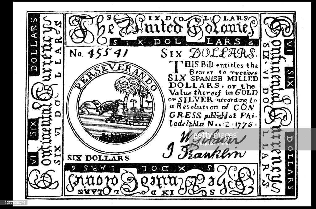 Six dollar note of the United Colonies. : News Photo
