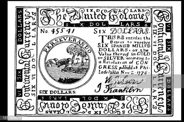 Six dollar note of the United Colonies, America, ca 1780, Thirteen Colonies.