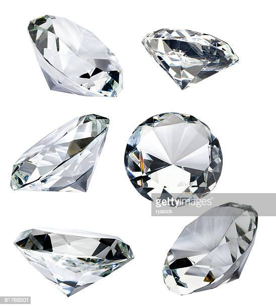 six faceted diamonds isolated on white with clipping path - diamond gemstone stock pictures, royalty-free photos & images