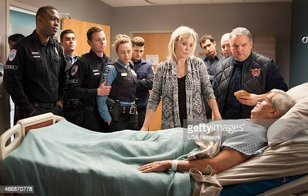 SIRENS Six Feet Over/Under Episode 210 Pictured Kevin Daniels as Hank St Clare Josh Segarra as Billy Michael Mosley as Johnny Farrell Jessica McNamee...