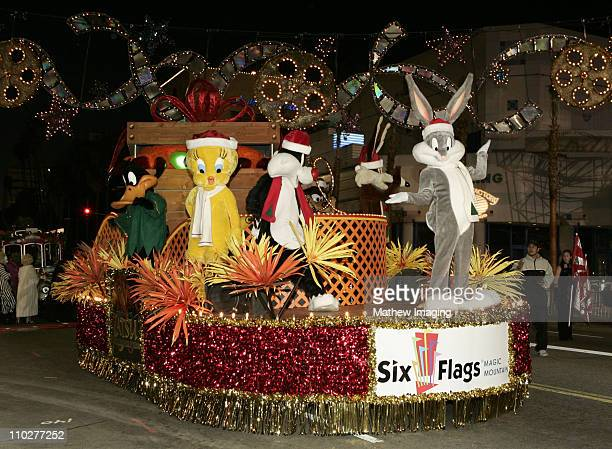 Six Flags Magic Mountain's float at the 74th annual Hollywood Christmas Parade