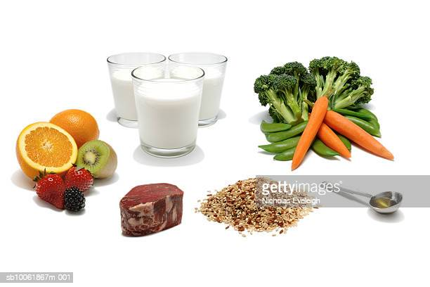 Six food items representing food pyramid, white background, studio shot