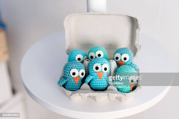 Six handmade chicks in a egg-cup
