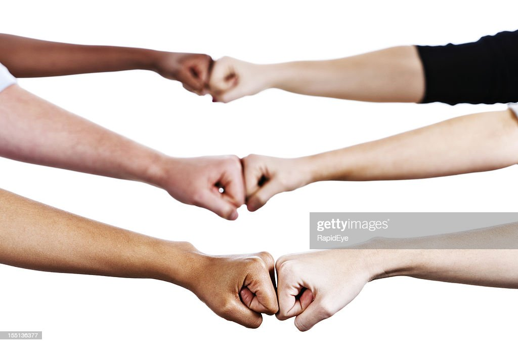 Fist bump stock photos and pictures getty images six hands greet by bumping fists m4hsunfo
