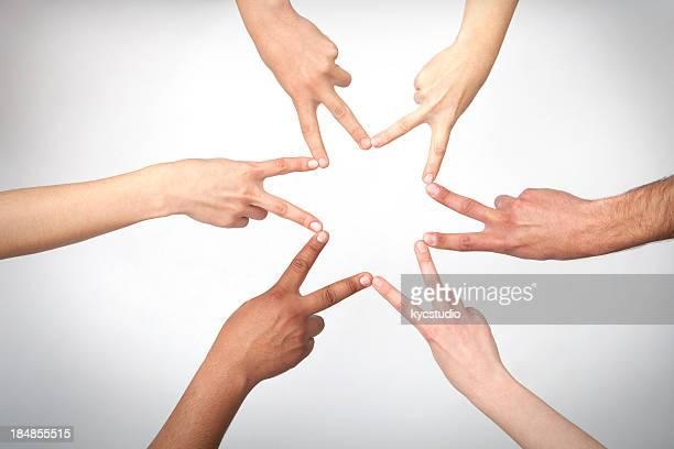 Sechs Händen Form eine star