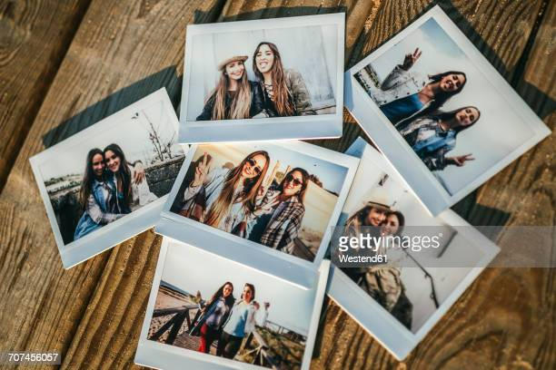 Six instant photos of two best friends