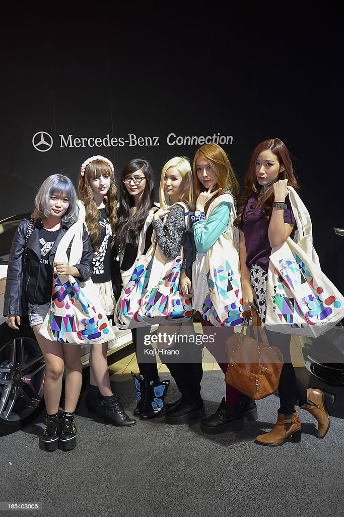 Six Japanese ladies attended a part at Mercedes-Benz Fashion Week Tokyo Spring/Summer 2014 at Benz Connection at Roppongi on October 18, 2013 in Tokyo, Japan.