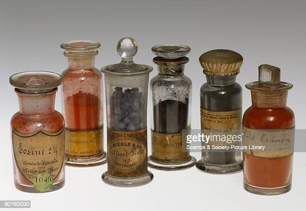 Six jars of synthetic colorants. Eosine 2Y manufactured by Chemische Fabriken vormals Weiler ter Meer, Uerdingen-am-Rhein, Germany; Rosinduline 2G by...