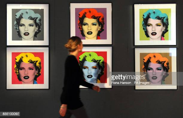 Six Kate Moss prints by Banksy in the style of Warhol's Marilyn Monroe series estimated at 100000 to 150000 pictured on show at Bonhams London ahead...
