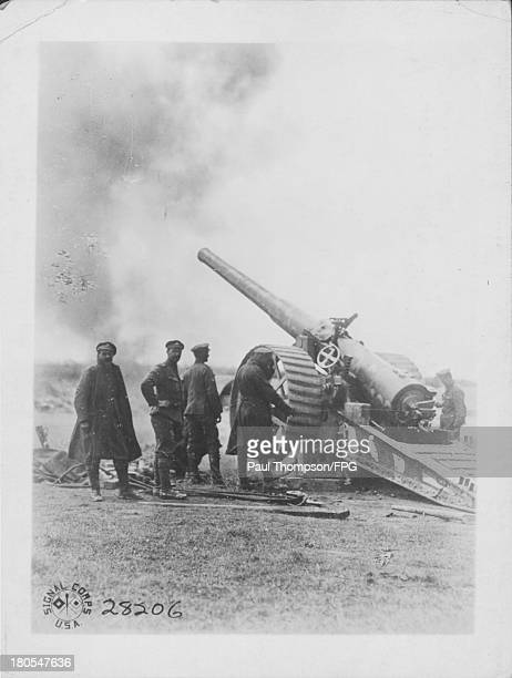A six man British naval gun manned by the 27th division Somme France September 20th 1919